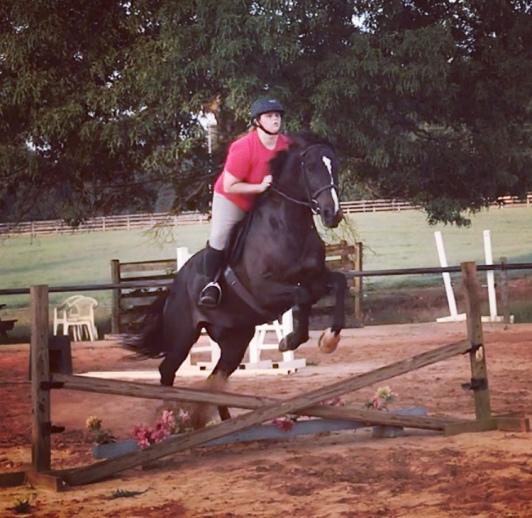 """Jumping a """"bigger"""" cross rail in our lesson two weeks ago!"""